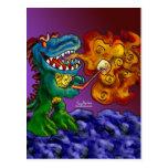 Dragón del dinosaurio que cocina las melcochas con tarjetas postales
