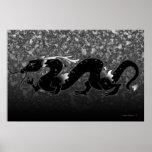 Dragón del dragón blanco y negro poster