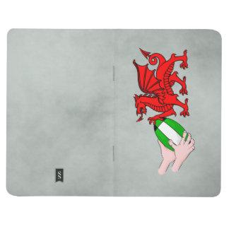 Dragón del equipo del rugbi de País de Gales con Cuadernos Grapados