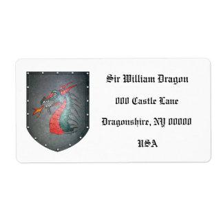Dragón del escudo del metal dejado etiqueta de envío