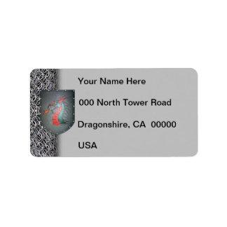 Dragón del escudo del metal etiquetas de dirección