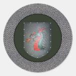 Dragón del escudo del metal pegatinas redondas