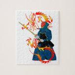 Dragón del espadachín y del fuego de Kendo Rompecabeza