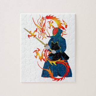 Dragón del espadachín y del fuego de Kendo Rompecabezas