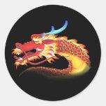 Dragón del este etiqueta redonda