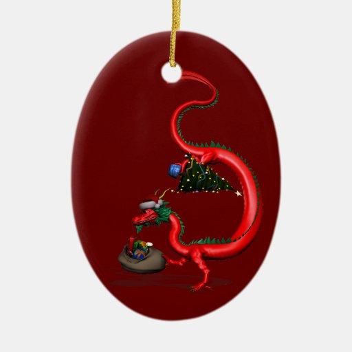 Dragón del este rojo adorno navideño ovalado de cerámica