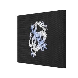 Dragón del estilo del cromo en la impresión negra