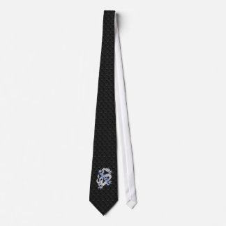 Dragón del estilo del cromo en la impresión negra corbata personalizada