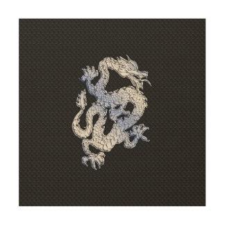 Dragón del estilo del cromo en la impresión negra impresiones en madera