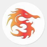 Dragón del fuego pegatina redonda