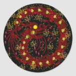 Dragón del fuego rojo pegatina redonda