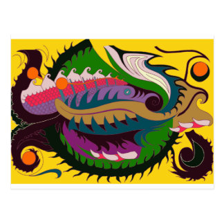 Dragón del fuego (rojo y verde en el oro) postal