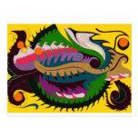 Dragón del fuego (rojo y verde en el oro) postales