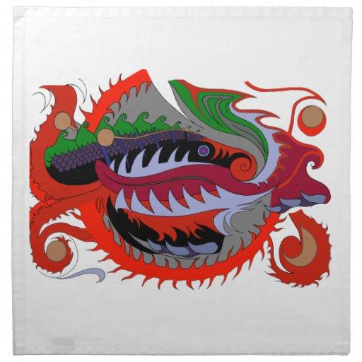 Dragón del fuego (rojo y verde) servilletas