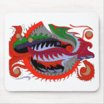 Dragón del fuego (rojo y verde) tapete de ratón