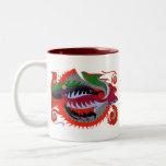 Dragón del fuego (rojo y verde) tazas de café