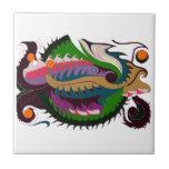 Dragón del fuego (verde y negro) azulejo