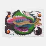 Dragón del fuego (verde y negro) toallas de mano