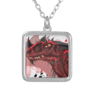 Dragón del fuego (versión blanca) colgante cuadrado
