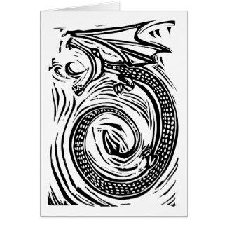 Dragón del grabar en madera tarjeta de felicitación