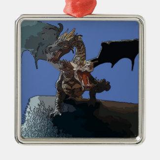 Dragón del Hydra Adorno Navideño Cuadrado De Metal