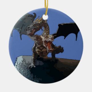Dragón del Hydra Adorno Navideño Redondo De Cerámica