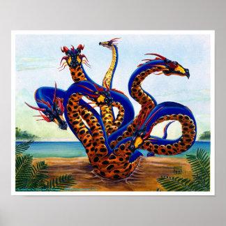 Dragón del Hydra en la impresión del dragón de la  Posters