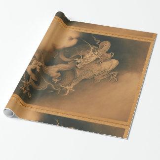 Dragón del japonés del vintage papel de regalo