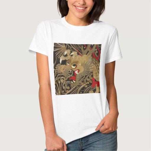 Dragón del japonés del vintage poleras