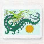 Dragón del mar profundo (verde) tapetes de raton