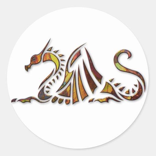 Dragón del moho etiquetas redondas