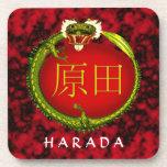 Dragón del monograma de Harada Posavasos De Bebida