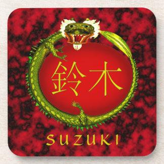 Dragón del monograma de Suzuki Posavasos
