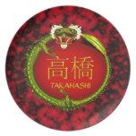 Dragón del monograma de Takahashi Platos Para Fiestas