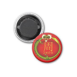 Dragón del monograma de Zhou Imán Redondo 3 Cm