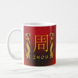 Dragón del monograma de Zhou Taza