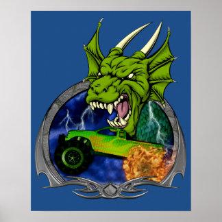 Dragón del monster truck póster