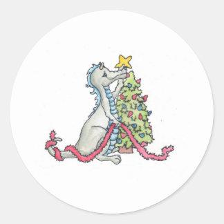 Dragón del navidad pegatina redonda