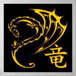 Dragón del oro con símbolo del kanji impresiones