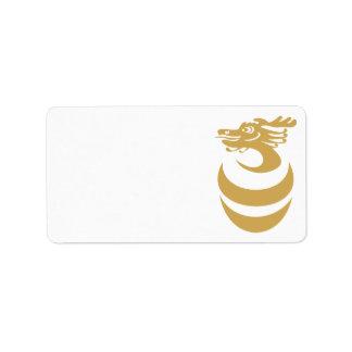 Dragón del oro en etiqueta del huevo etiqueta de dirección