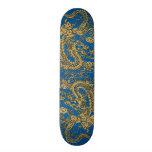 Dragón del oro en la textura de cuero azul de Lapi Patines