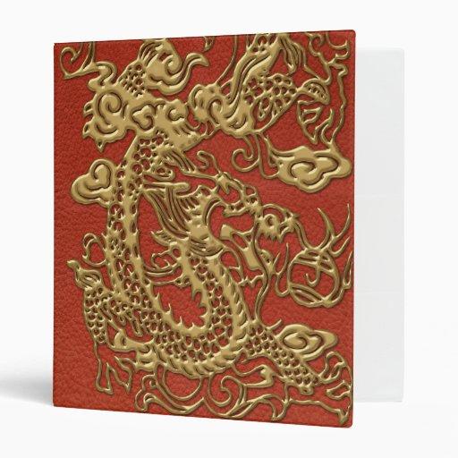 Dragón del oro en textura de cuero coralina profun