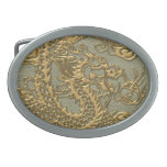 Dragón del oro en textura de cuero de color caqui hebilla cinturon
