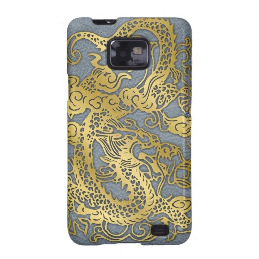 Dragón del oro en textura de cuero gris galaxy s2 carcasas