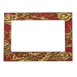 Dragón del oro en textura de cuero roja marcos magneticos