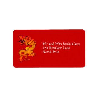 Dragón del oro y del naranja por Año Nuevo chino Etiqueta De Dirección