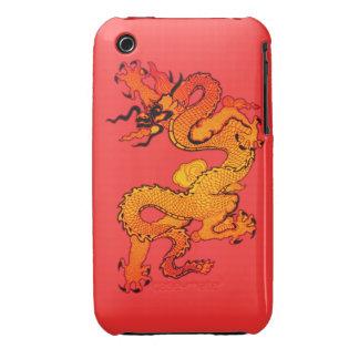 Dragón del oro y del naranja por Año Nuevo chino Case-Mate iPhone 3 Funda