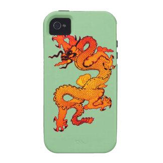 Dragón del oro y del naranja por Año Nuevo chino Case-Mate iPhone 4 Carcasa