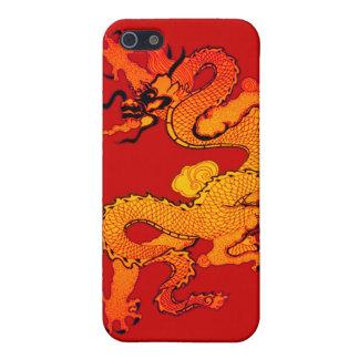 Dragón del oro y del naranja por Año Nuevo chino iPhone 5 Fundas