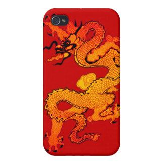 Dragón del oro y del naranja por Año Nuevo chino iPhone 4/4S Fundas